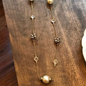 J. Crew Long Pearl Rhinestone Crystal Necklace